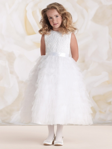 Joan Calabrese White Satin & Tulle Ruffled Layered Dress w/ Lace Bodice
