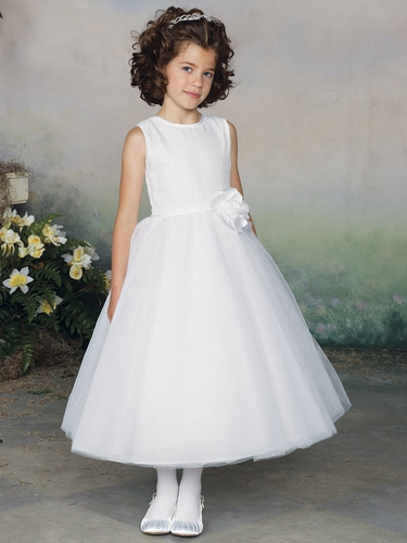 Joan Calabrese White Sequins Bodice w/ Tulle Skirt Communion Dress