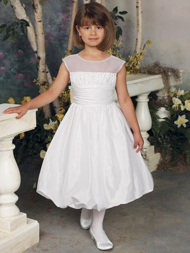 Joan Calabrese White Taffeta Communion Dress