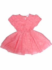 Just Fab Girls Coral Rose Sequin Dress