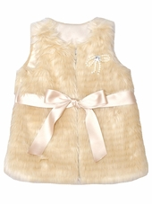 Just Fab Girls Gold Faux Fur Vest
