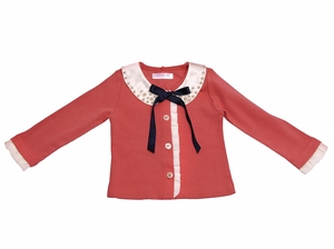 Just Fab Girls Peter Pan Collar Cardigan w/ Bow