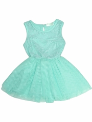 Just Fab Girls Turquoise Lace Dress w/ Dot Mesh