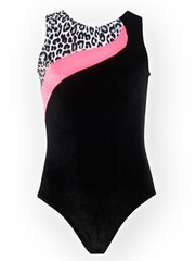 K-Bee Leotards Elite Snow Leopard Bubble Gum Pink w/ Black Velvet Elite