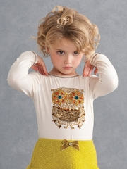Kate Mack Cream Owl Tee
