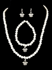 Kid's Ivory Princess Crown Necklace Pearl Set