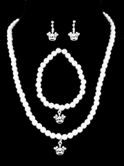 Kid's White Princess Crown Necklace Pearl Set