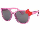 Kids Translucent Pink Frame Sunglasses w/ Red Bow