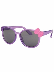 Kids Translucent Purple Frame Sunglasses w/ Pink Bow