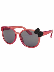 Kids Translucent Red Frame Sunglasses w/ Black Bow