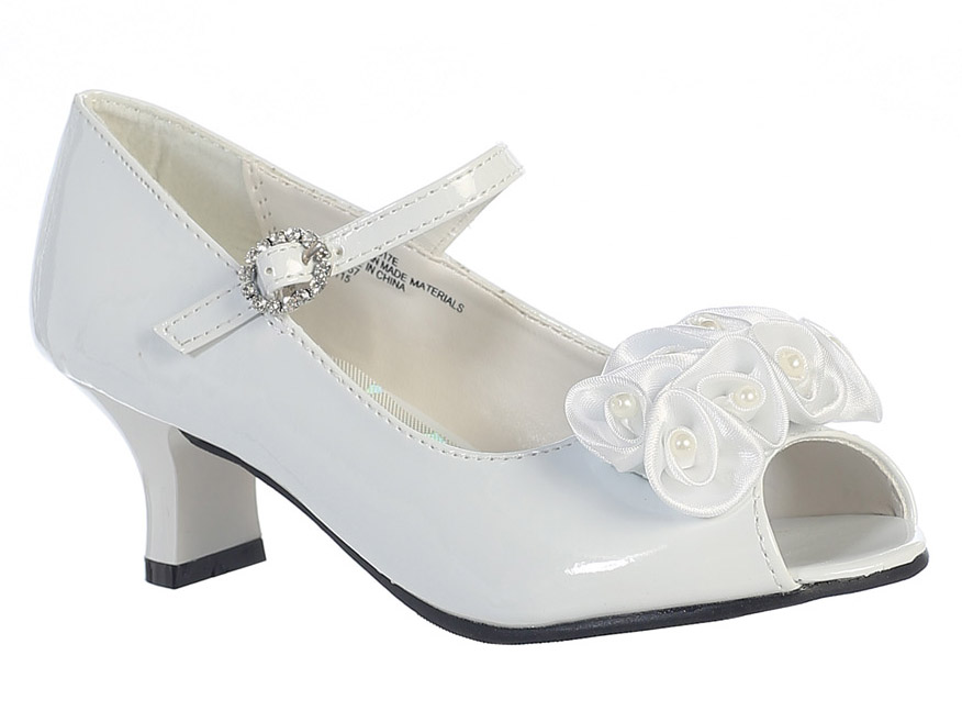 white peep toe dress shoe w satin flowers