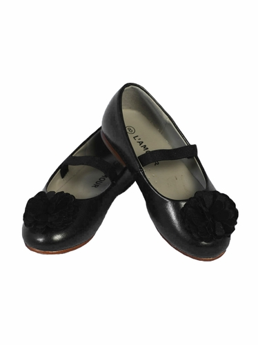 L' Amour Girls Black Dress Shoes w/ Flower Pom