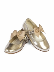L'Amour Gold Girls Dress Shoes w/ Bow Strap