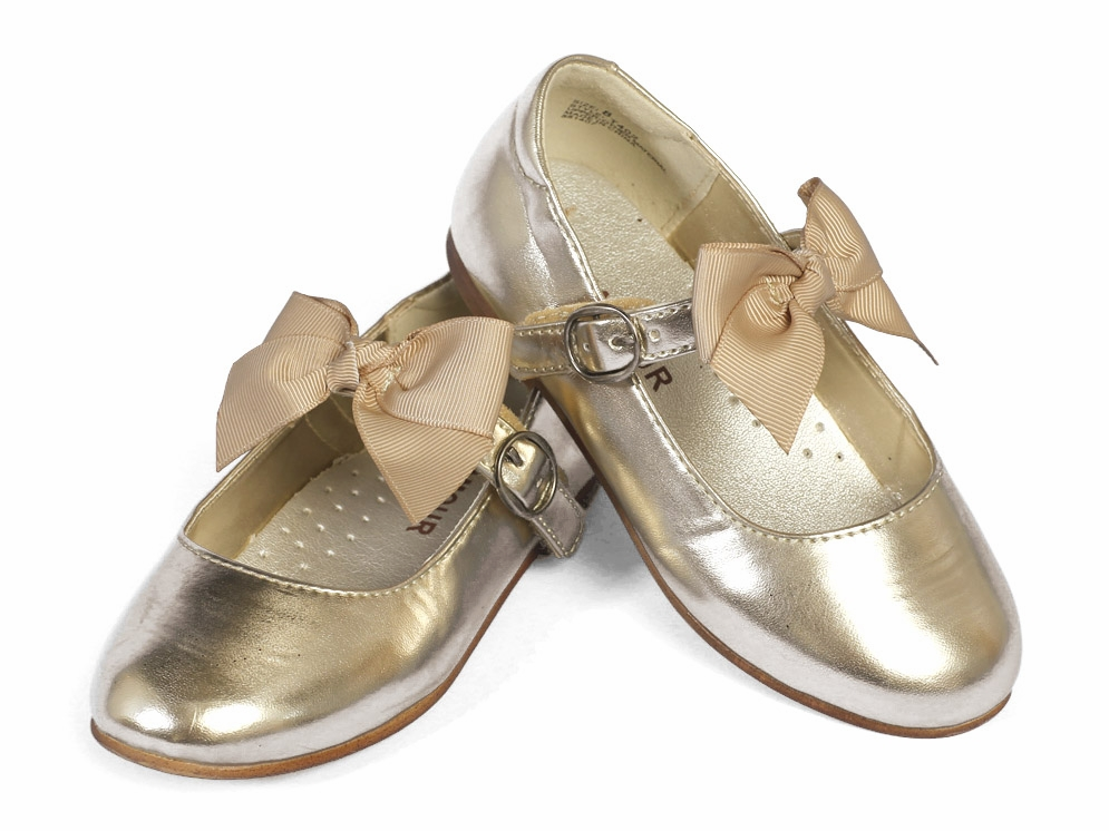 Amour Gold Girls Dress Shoes w/ Bow Strap