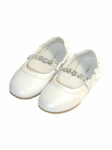 L'Amour White Dressy Flats - Pearl