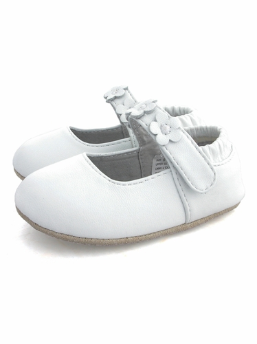 L'Amour White Leather Floral Velcro Strap Shoes