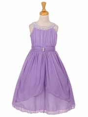 Lavender Chiffon Pleated Jeweled Neckline Dress