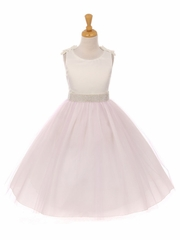 Lavender Double Satin Bow w/ Beaded Trim & Neckline Tulle Dress