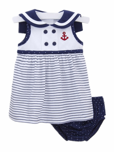 Le Top Baby Ahoy Baby Nautical Stripe Sundress & Dot Panty