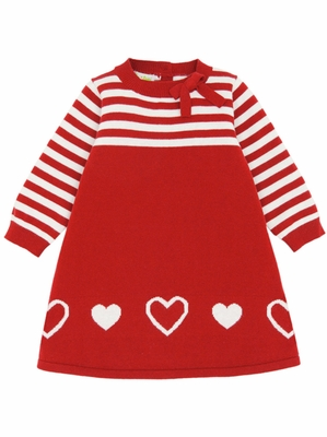 Le Top Baby Cute & Cozy A-Line Sweater Dress w/ Stripe Yoke