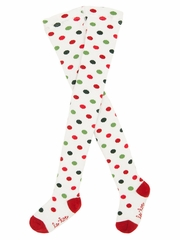 Le Top Baby Jolly Elves Red & Green Dot Tights