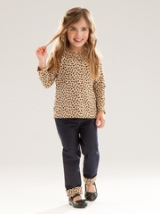Le Top Baby Leopard T-Shirt & Denim Jeggings w/ Ruching