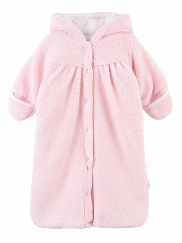 Le Top Baby Safari Pink Hooded Plush Snuggle Bag w/ Ears