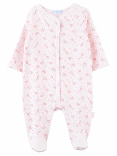 Le Top Baby Safari Snuggle Pink Footed Jumpsuit