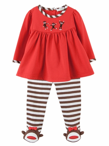 Le Top Baby Spunky 3 Little Monkeys Top & Footed Stripe Pant