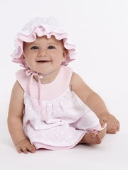 Le Top Baby Summer Sweetie Pink & White Dot Dress w/ Eyelet Overskirt & Panty