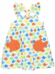 Le Top Go Fish Sundress w/ Orange Fish Pockets