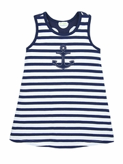 Le Top Happy Sails Navy Anchor Sleeveless Dress