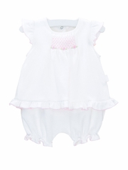 Le Top Treasured Baby Skirted Bubble w/ Pink Smocking