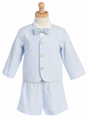 Light Blue Boys Striped Seersucker Eton & Shorts