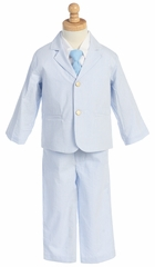 Light Blue Boys Striped Seersucker Suit