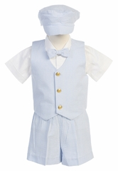 Light Blue Boys Striped Seersucker Vest w/ Shorts