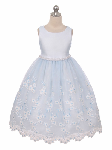 Light Blue Embroidered Floral Dress w/ Pearl Waistband & Scallop Hem