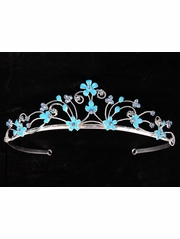 Light Blue Headpiece Tiara w/Flower Design Rhinestones