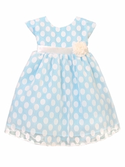 Light Blue Polka Dot Mesh Dress