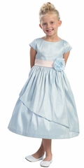 Light Blue Poly Dupioni Dress w/Sleeves