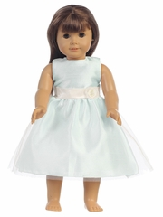 "Light Blue Shantung Bodice w/ Tulle 18"" Doll Dress"