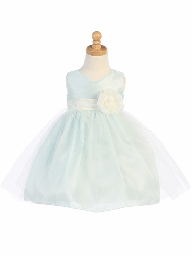 Light Blue Shantung Bodice w/ Tulle