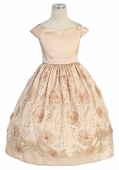 Light Gold Flower and Sequins Embroidered Taffeta Dress