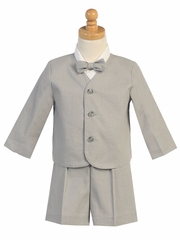 Light Gray Linen Eton & Shorts Set