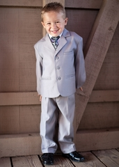 Boys' Light Gray 5 Piece Suit