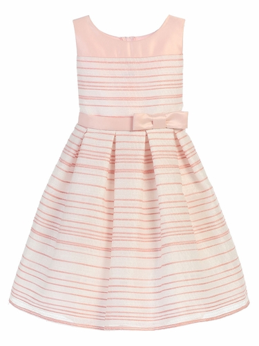 Light Pink Striped Woven & Satin Dress