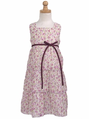 Lilac 3-Tier Floral Chiffon Dress