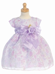 Lilac Cap Sleeved Floral Tencel Burnout Dress