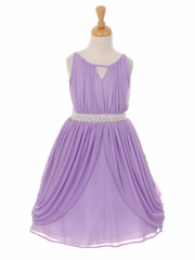 Lilac Chiffon Pleated Pearl Belt Dress