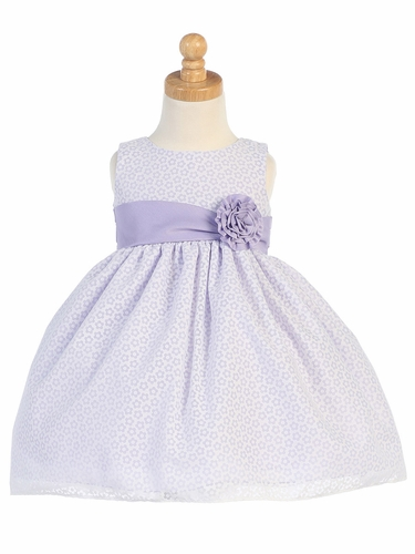 Lilac Cotton Floral Burnout Dress